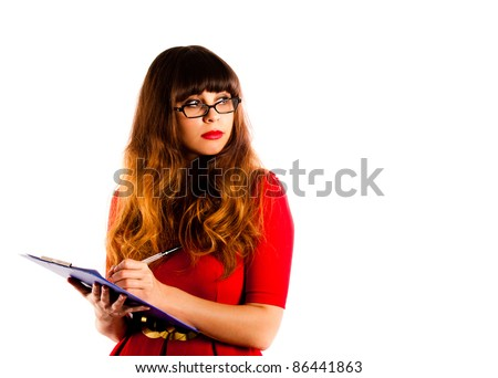 Professional young woman wearing a red dress and glasses. Holding a clipboard and pen - stock photo