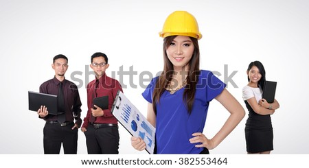 Professionalism. A group of attractive young Asian people with different occupations standing over white background - stock photo