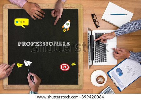 PROFESSIONALS Businessman working at office desk and using computer and objects on the right, coffee,  top view, with copy space - stock photo