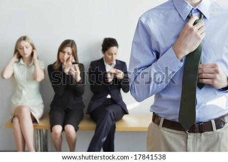 Professionals preparing for job interview
