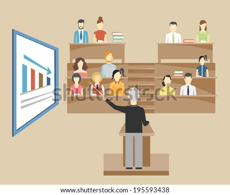 Professor standing in the front of the class at a lectern lecturing to students at university who are sitting in tiered seats facing the viewer  illustration - stock photo