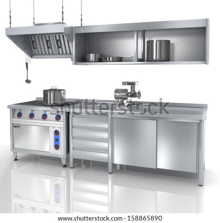 proffesional kitchen furniture and tools, 3d - stock photo