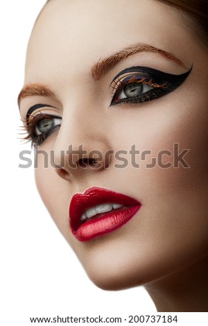 Profile beauty picture of woman with creative make up
