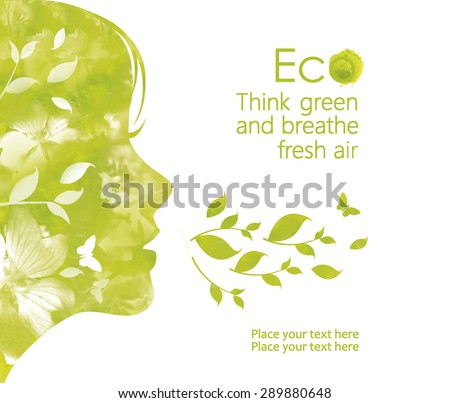 Profile face of young  woman  from watercolor stains,isolated on a white background.  Illustration environmentally friendly planet. Think green and breathe fresh air.  Ecology Concept.   - stock photo