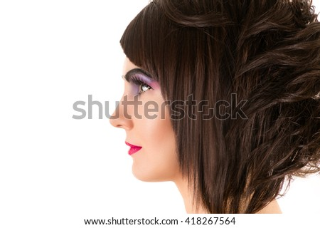 profile face woman with stylish hairstyle and makeup