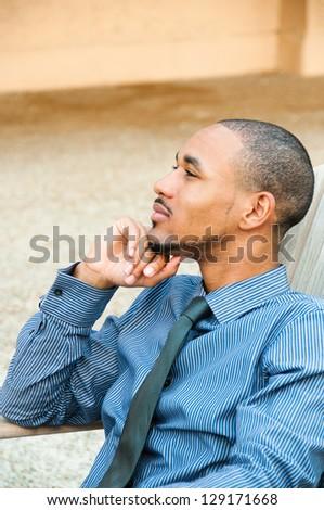 Profile Handsome Black American Man - stock photo