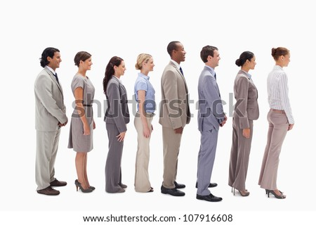 Profile of a business team in a single line against white background - stock photo