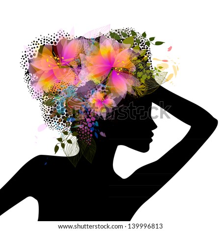 Profile of a girl with flowers on her head. Raster