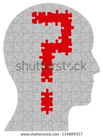 Profile of a head containing a question mark in puzzle/jigsaw format