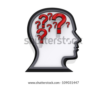 Profile of a head with question marks that look like a brain on a white background.