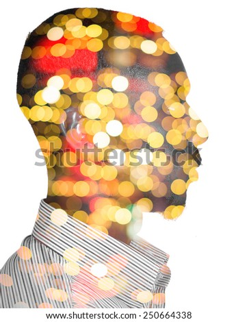 Profile of a man with blurred night lights - stock photo