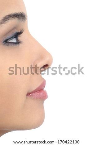 Profile of a perfect woman nose isolated on a white background               - stock photo