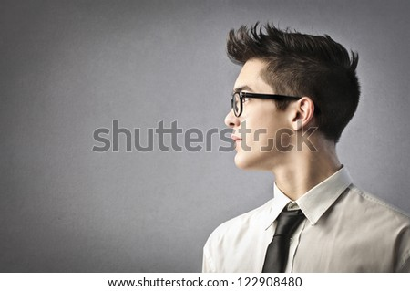 Profile of a young office worker - stock photo