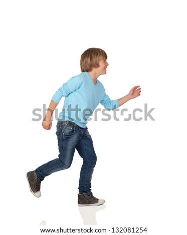 Profile of adorable preteen boy walking isolated on a over white background - stock photo