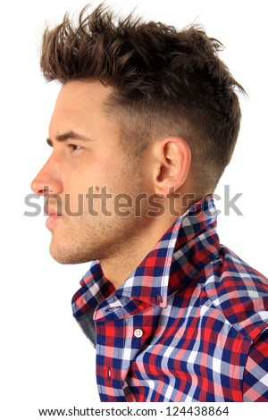 Profile of an attractive man. - stock photo
