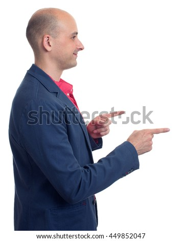profile of bald man pointing finger. Isolated over white