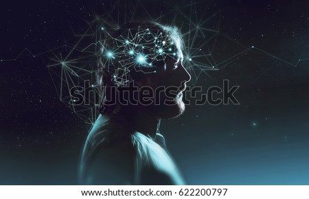 Profile of bearded man with symbol neurons in brain. Thinking like stars, the cosmos inside human, background night sky