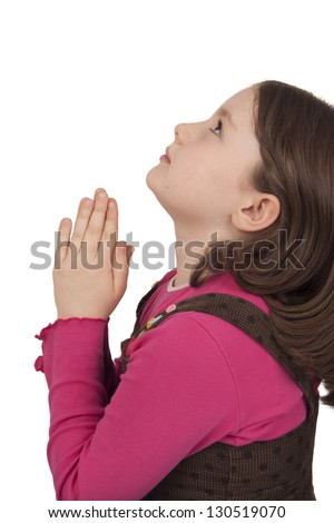 Profile of beautiful girl praying and looking up isolated on white background