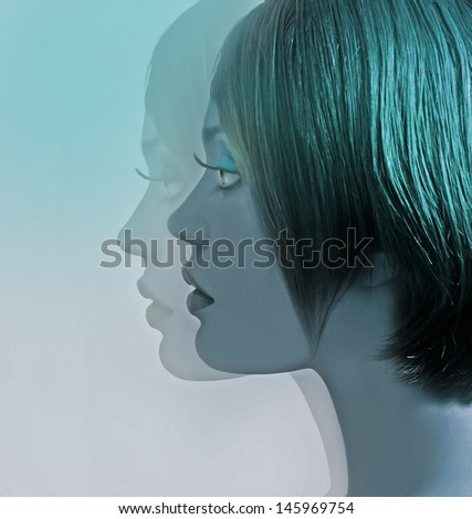 profile of beautiful girl with short hair