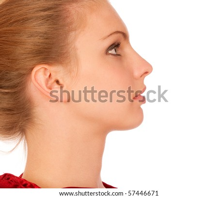 Profile of beautiful young woman, isolated on white background.