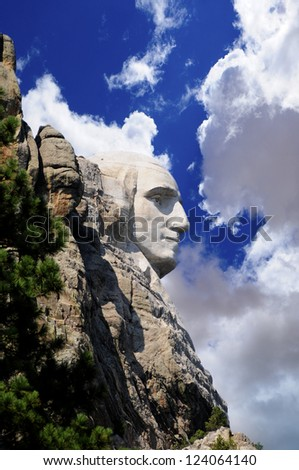 Profile of George Washington at Mount Rushmore - stock photo