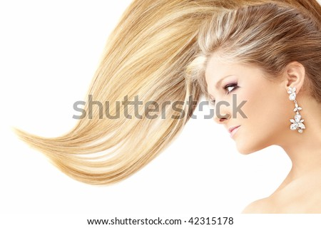 Profile of lying beauty with the smart hair, isolated - stock photo