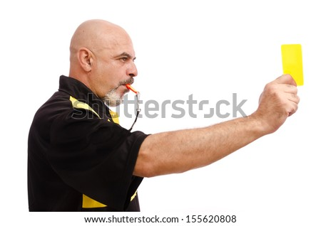 Profile of referee with yellow card. Isolated on white - stock photo