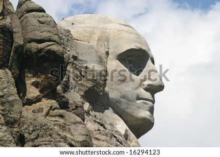 Profile of Washington on Mount Rushmore.