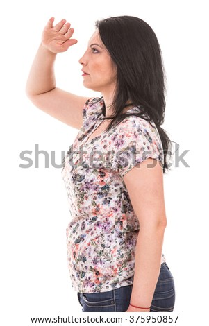 Profile of woman looking  far away isolated on white background