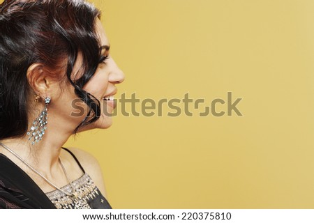 Profile of woman smiling - stock photo