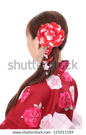 profile of young asian woman with traditional clothing kimono