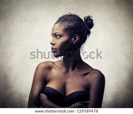 profile of young beautiful black woman - stock photo
