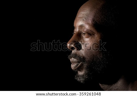 Profile Portrait Of Afro American Man
