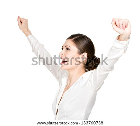 Profile portrait of an young happy woman with raised hands up in white shirt - isolated on white background.