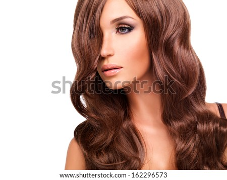 Profile portrait  of beautiful woman with long red hairs. Closeup face  with curly hairstyle, isolated on white.