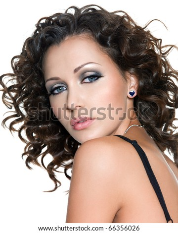 profile portrait of beautiful young woman with fashion makeup and curly hair. Isolated on white - stock photo