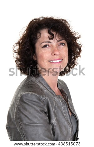 Profile portrait of woman wearing leather jacket and smiling