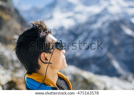 Profile portrait of young Sherpa