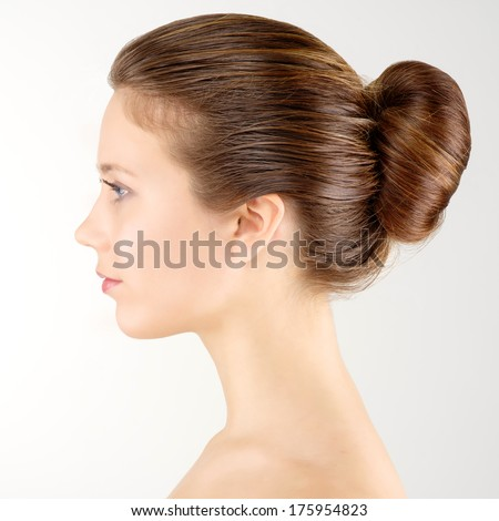 Profile portrait young adult woman with clean fresh skin