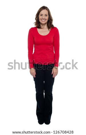 Profile shot of a middle aged cheerful woman dressed in casuals. - stock photo