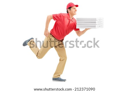 Profile shot of a pizza delivery guy running isolated on white background - stock photo