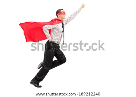 Profile shot of a superhero launching into the air isolated on white background - stock photo