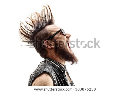 Profile shot of an angry young punk rocker with a Mohawk hairstyle screaming isolated on white background - stock photo
