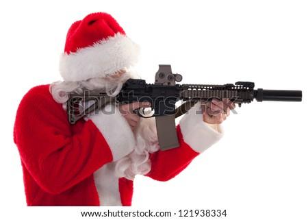 profile shot of Santa holding a gun - white isolation - stock photo