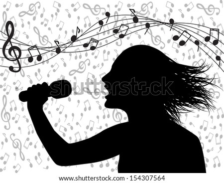 Profile silhouette of a man singing and musical lineup - stock photo