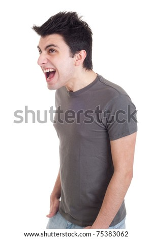 profile view of a very angry man screaming isolated on white background