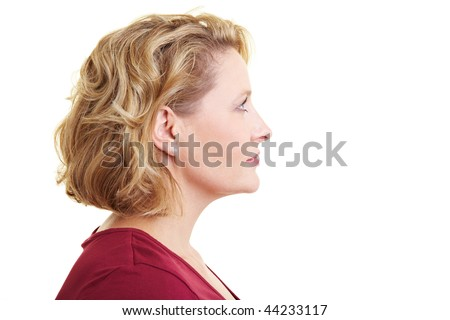Profile view of a woman looking rightward