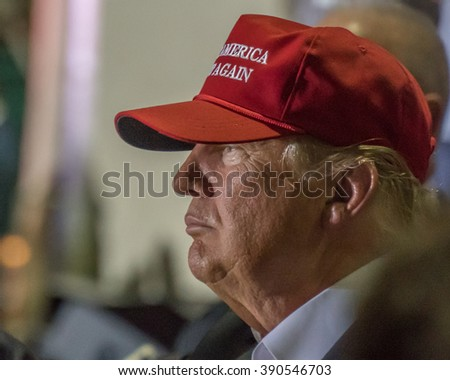 Profile view of Donald J Trump, presidential candidate, at the Boca Raton, FL Rally on March 13th, 2016.