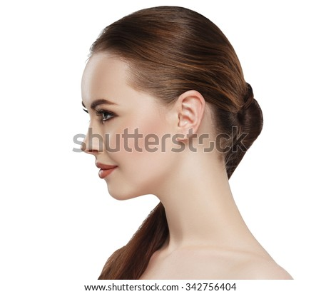 Profile woman beauty skin face neck ear  - stock photo
