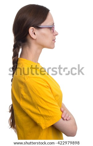 profile woman face wearing glasses isolated on white - stock photo